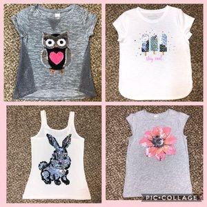 Bundle 4 Little Girls Sequence Shirts Tops 7/8